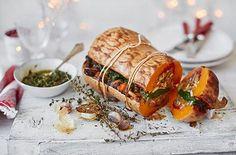 Stuffed roasted squash with pesto