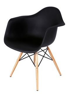 Adult Sized Mid Century Chair with Arms & Ash Wood Sleighs - Black