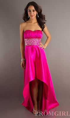 Strapless High Low Prom Dress by XOXO at PromGirl.com
