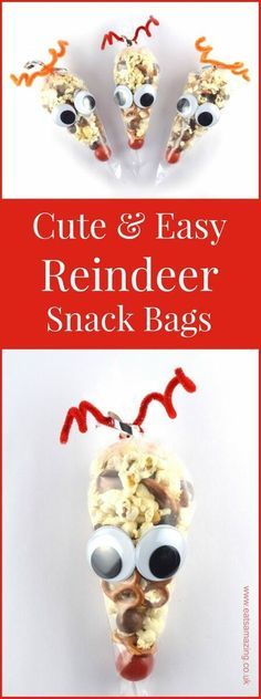 christmas snacks Easy reindeer snack bags recipe and tutorial - a fun Christmas party food idea for kids from Eats Amazing School Christmas Party, Preschool Christmas, Xmas Party, Christmas Activities, Christmas Holidays, Party Activities, Christmas 2017, Merry Christmas, Holiday Snacks