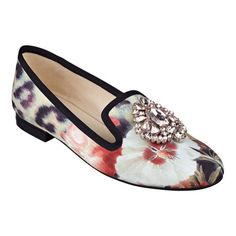 "Twinkle toes. Glistening jewel detailing atop the vamp of our Longshot smoking slippers enhances the beauty of the ultra-feminine floral print. Padded footbed for all-day comfort. Fabric upper. Man-made lining and sole. Imported. 1/2"" low heels."