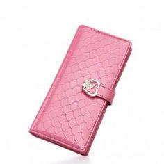 Długi portfel w łuskę w kolorze różowym