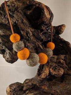 Boho style orange gray felt ball necklace - pendant. Felt pompoms. Natural  ecofriendly women's accessories. Wool jewelry. Ball Necklace, Pendant Necklace, Orange Grey, Gray, Felt Ball, Boho Style, Women's Accessories, Boho Fashion, Crochet Necklace