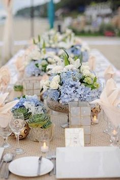Serenity blue, beige and white colorscape for a spring wedding reception in the garden.