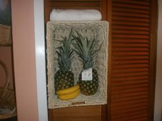 The slats on the pantry door broke, i was stuck with a huge hole in the middle of it & didnt wanna get another door... what to do !!! put basket in place of the slats and made it able to hold fruit, bread, paper goods etc...