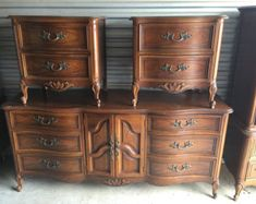 Vintage Complete Dixie French Provincial Bedroom Set  Dresser Mirror 2  Nightstands Chest Armoire