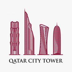 Qatar city tower logo design inspiration Premium Vector Everton Badge, Government Logo, Qatar National Day, Logo Line, Islamic Calligraphy, Doha, Visual Communication, Logo Design Inspiration, Arabic Quotes