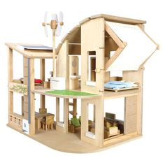 Engage your little ones in creative play and educate them about green living at the same time with the amazing Green Dollhouse from Plan Toys. This scaled down