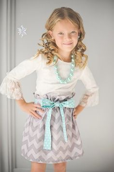 Chevron Skirt-love the whole outfit but would be cute even for a 'big' girl!