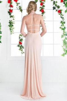 in store now.This floor length, sleeveless, high neck, open back dress is on trend. With it's understated beading and thigh high slit it ticks all the boxes! Formal Prom, Formal Evening Dresses, Dress Formal, Prom Dresses 2017, Bridesmaid Dresses, Wedding Dresses, Festa Party, Open Back Dresses, Ball Gowns