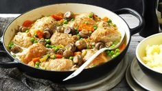 Up+the+comfort+factor+of+this+flavousome+chicken+thigh+casserole+with+creamy+mash,+or+go+healthier+by+teaming+with+steamed+brown+rice+or+couscous.
