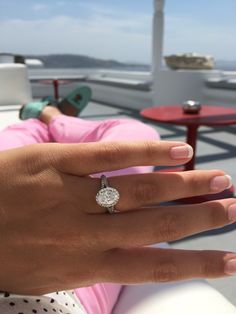 Love my oval halo split shank engagement ring from Boone and Sons