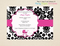 Black and White Damask Baby Shower Invitation with Hot Pink Carriage by Party Paper Printables