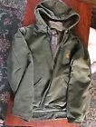 Men's XL Carhartt Canvas Coat/ Green/ Sherpa Lined/ 5 Pockets/ Hood