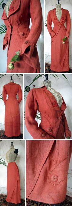 Coral walking suit ca. 1912. Jacket & skirt in linen-cotton mix (?). Revers & collar hand-embroidered in floral motifs. Jacket & skirt have darts. Five large & 4 smaller hand-embroidered buttons in same material and color of the ensemble. Antique-Gown.com