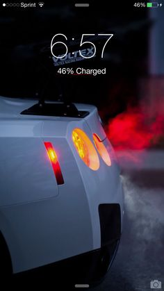 iPhone 6 Plus wallpaper of the rear end of a beautiful pearl white Nissan GT-R R35.