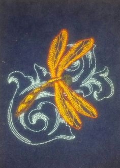 Baroque Dragonfly on blue micro suede.