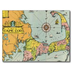 Deals Vintage Map of Cape Cod Postcard This site is will advise you where to buy