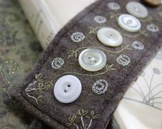 Folk Art Wrist Cuff Plaid Hand Embroidered Vintage by Waterrose, $87.00