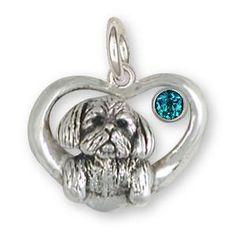 Shih Tzu Birthstone Charm Handmade Silver Shih Tzu Jewelry SZ23-SC