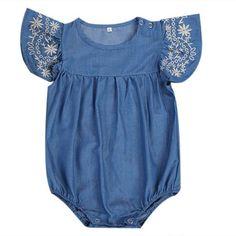 1b74d4a5dfb Newborn Baby Girls Denim Romper Jumpsuit Outfits Sun suit Clothes