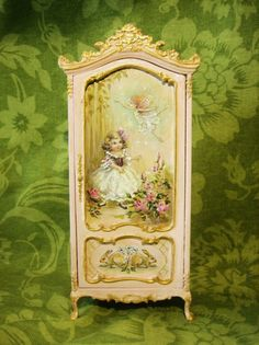 Hand-painted Finding Fairies Wardrobe Armoire in a soft Pink - Dollhouse Miniatures