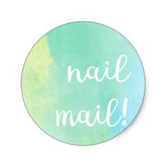 Nail Mail! Sticker - bluey green watercolour  3.8cm = 20 per sheet  by Red Rockets Design