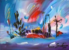 eden, de l'artiste peintre ame sauvage http://www.amesauvage.com/artiste-peintre-contemporain-2/tous-les-tableaux/tableau-violet.html