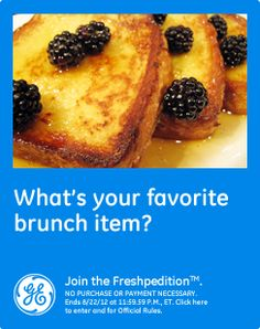 What's your favorite brunch item? Eggs Benedict or fruit stuffed French toast is mine... drizzled with pure maple syrup of course!  #GEfreshFL