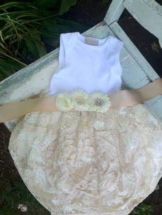 2c06372987 Luxe Lace Infant Shabby Chic Tutu Onesie Dress Baptism Special occasion  vintage inspired flower girl summer