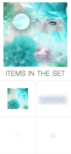"""""""Once in a Blue Moon"""" by darienlovleywert ❤ liked on Polyvore featuring art, flowers, horse, faerie, blue moon and magic"""