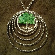 Peridot Necklace Wire Wrapped MultiRing Tree Of by Just4FunDesign, $25.00