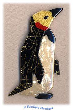 Lea Stein Golden Threaded Mr. Penguin | eBay