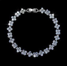 Flower Cubic Zirconia Wedding Strand Bracelet by AmodeJewelry, $23.50