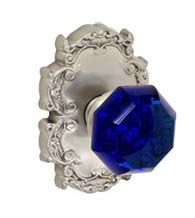 Cobalt Blue Glass Knob With Victorian Rose, Fusion