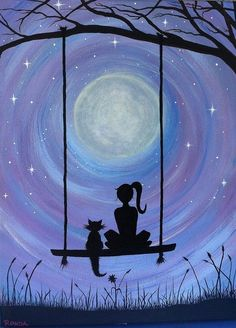 A Girl and her Cat (PRINT) A girl and her cat. Sure to capture the hearts. In this dreamy, heartfelt silhouette of a girl and her cat sitting on a swing under the majestic full moon, get lost. My cat Kickick inspires my art. She was my first experience of Cat Sitting, Cat Art, Painting Inspiration, Painting & Drawing, Swing Painting, Moon Painting, Heart Painting, Painting Tattoo, Spray Painting