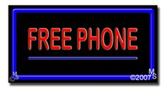 """Free Phone Neon Sign - 20"""" x 37""""-ANS1500-5498-R  37"""" Wide x 20"""" Tall x 3"""" Deep  Flashing Border """"ON/OFF"""" switch  Sign is mounted on an unbreakable black or clear Lexan backing  Top and bottom protective sides  110 volt U.L. listed transformer fits into a standard outlet  Hanging hardware & chain included  6' Power cord with standard transformer  For indoor use only  1 Year Warranty on electrical components."""