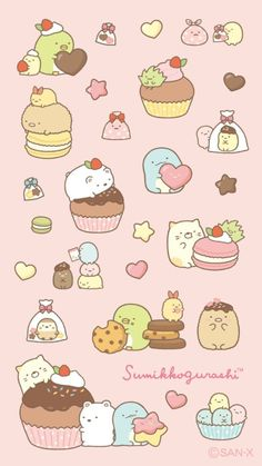 Kawaii Doodles, Cute Doodles, Kawaii Art, Hello Kitty Wallpaper, Kawaii Wallpaper, Rilakkuma Wallpaper, Cute Animal Drawings Kawaii, Cute Drawings, Kawaii Stickers