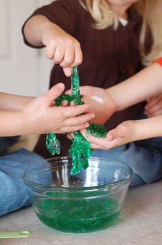 MAGICAL MONSTER SLIME ~  1 tsp Borax powder, 1.5 c water, divided, 4 oz. [or .5 c] Elmer's [clear or WH] glue, food coloring [*update: some readers had trouble when using blue food coloring], &  glitter [the magical, secret ingredient]