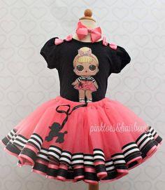 Sis Swing Lol surprise doll tutu set-lol surprise outfit- lol surprise dress Y Birthday Tutu, Girl Birthday, Little Girl Outfits, Kids Outfits, Kids Tutu, Pink Toes, Doll Party, Tutu Outfits, Doll Costume