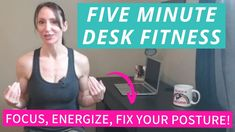This Five Minute Work Desk Fitness break will have you energized and refocused while also correcting your posture so you can work more efficiently. Fix Your Posture, Work Desk, Exercise, Workout, Fitness, Preppy Desk, Ejercicio, Work Out, Excercise
