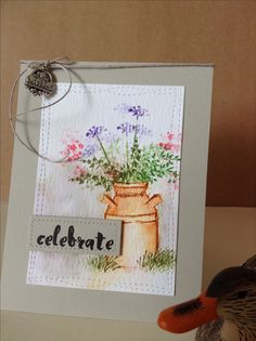 Celebrate card by Melodie.  Art Impressions Stamps.  Altenew sentiment stamp.  Distress Ink and some Zigcleancolor markers.