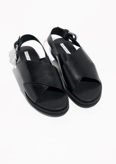 & Other Stories image 2 of Cross Strap Leather Sandals in Black