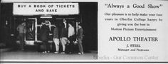 ID#0439 Date: 1941. Apollo Theater, advertisement. Source: HI-OH-HI, the Oberlin College yearbook.