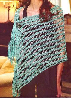 tejidos artesanales en crochet: chal largo con lineas onduladas. Rectangular crochet shawl pattern in Spanish with Universal crochet chart.