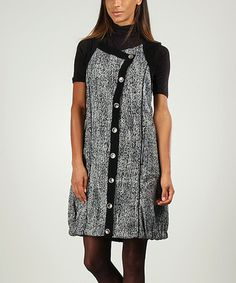 Look what I found on #zulily! Gray & Black Tweed Button-Up Dress by Areline #zulilyfinds