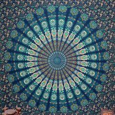 Queen Multicoloured mandala tapestry-boho wall by Dormitoriodcor Blue Tapestry, Tapestry Bedroom, Peacock Room, Green Peacock, Mandela Tapestry, Wall Sheets, Birmingham Zoo, Dorm Design, Dark Blue Green