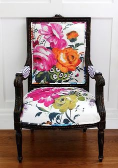 Fun Floral Fabric Upholstery Chair