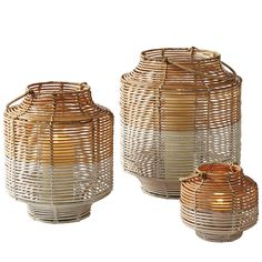 Two-Toned Rattan Lanterns – Small | Serena & Lily