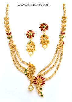 22K Gold 'Peacock' Necklace & Ear Hangings Set with Uncut Diamonds